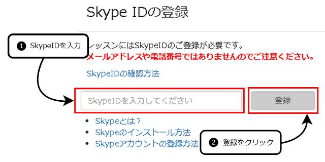 スカイプIDの登録